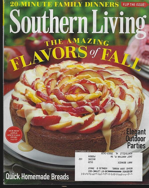 Southern Living Magazine September 2015 Flavors of Fall/Monteagle/Charleston