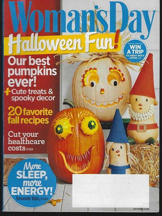 Woman's Day Magazine October 2016 Halloween Fun/Football/Pasta/Pet Costumes