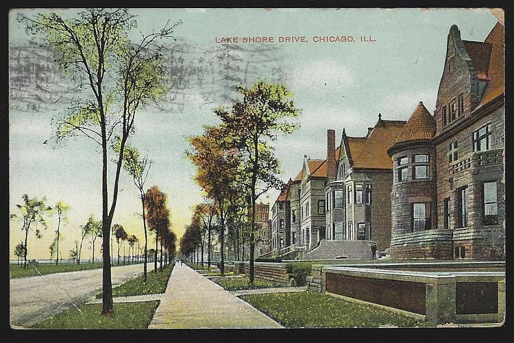 Vintage Postcard of Lake Shore Drive, Chicago, Illinois 1908