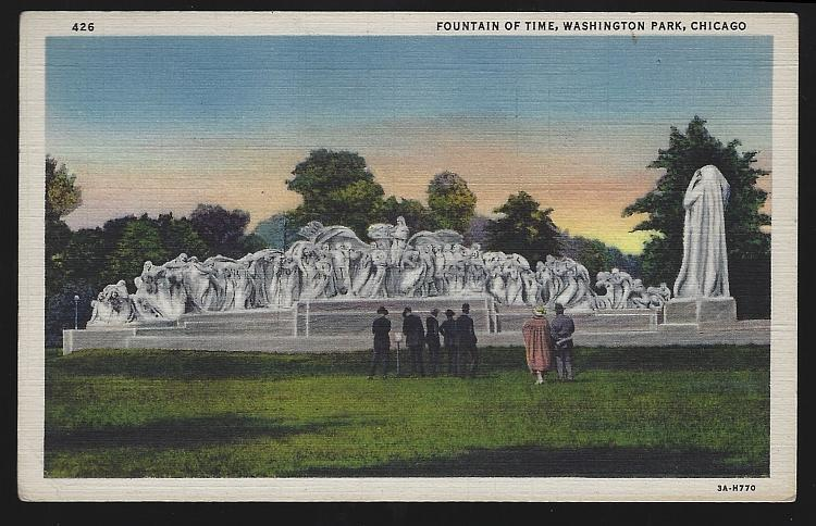 Fountain of Time, Washington Park, Chicago, Illinois 1935 Vintage Postcard