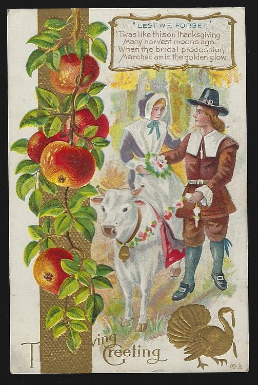 Vintage Thanksgiving Greeting Postcard with Pilgrim Wedding Party Turkey Apples