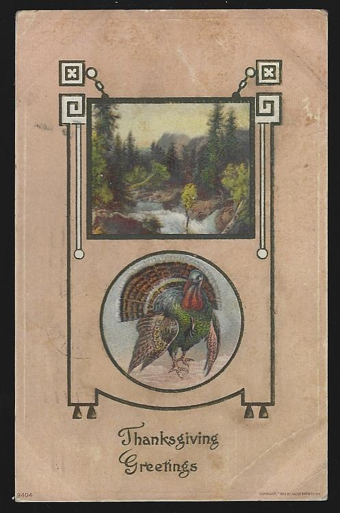 Vintage Thanksgiving Greetings Postcard with Turkey and Landscape 1910