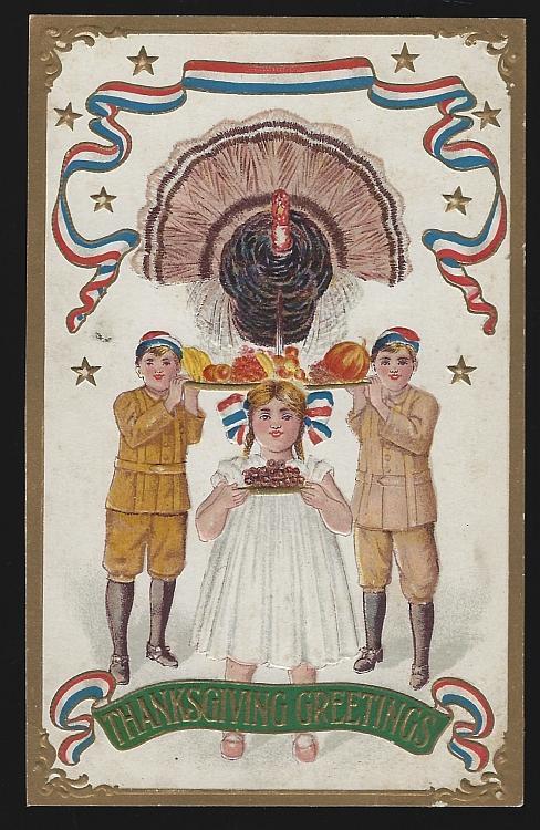 Thanksgiving Greetings Postcard Children Food, Turkey and Patriotic Ribbons