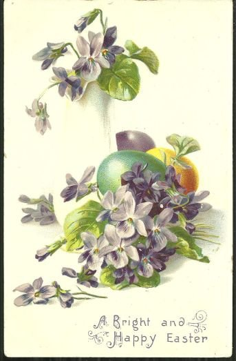 Bright and Happy Easter Postcard with Eggs and Violets