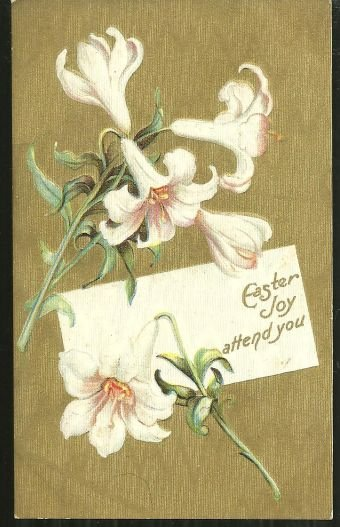 Easter Joy Attend You Postcard with Easter Lilies
