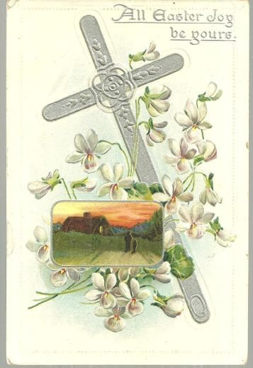 Easter Joy Postcard with Silver Cross and Shepherd