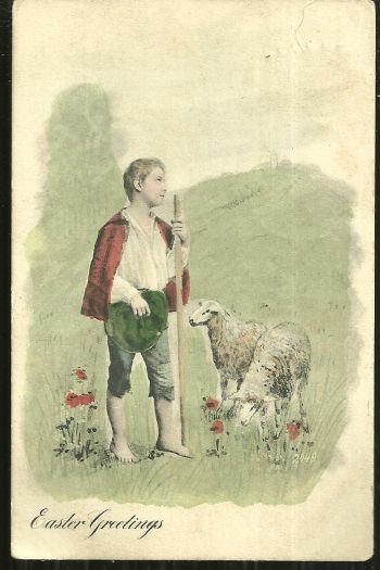 Undivided Easter Postcard with Shepherd and Sheep 1900