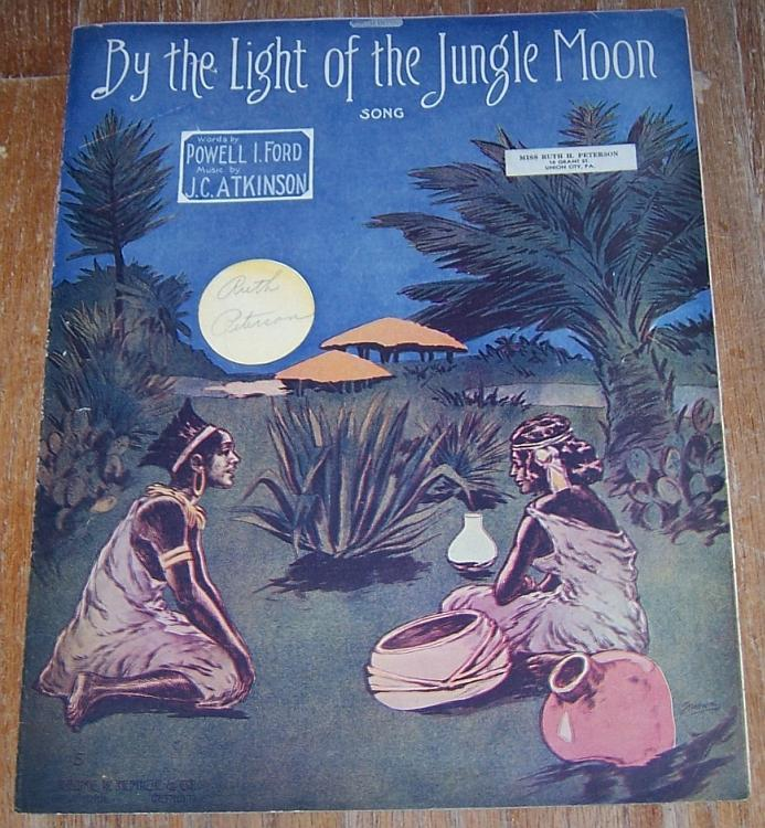 Oversize Sheet Music By the Light of the Jungle Moon Song Cover by Starmer 1911