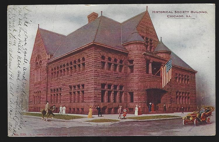 Undivided Postcard of Historical Society Building, Chicago, Illinois 1906