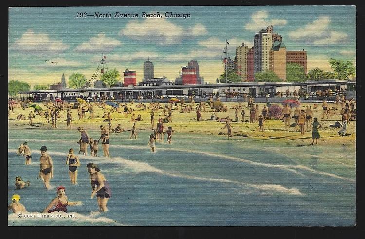 Vintage Postcard of North Avenue Beach, Chicago, Illinois 1949