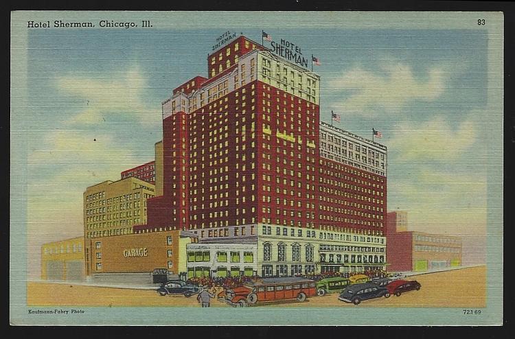 Vintage Unused Postcard of Hotel Sherman, Chicago, Illinois Located in the Loop