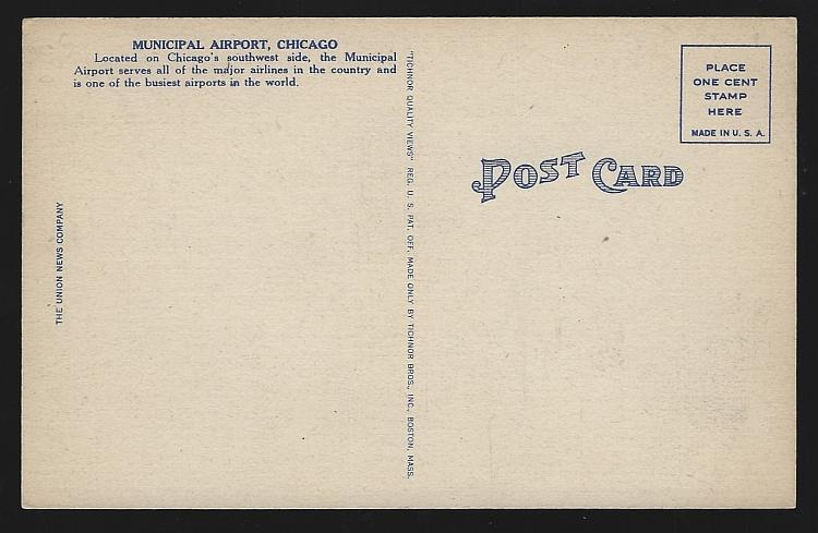Vintage Unused Postcard of Chicago Municipal Airport, Chicago, Illinois