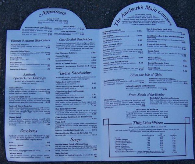Menu from the Aardvark Grille and Tavern, Lake Bluff IL