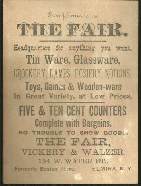 Victorian Trade Card for The Fair Reatil Store Elmira