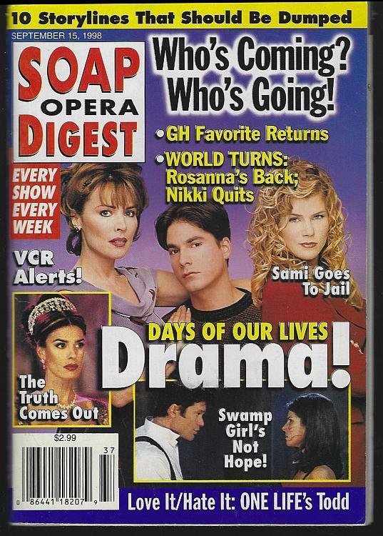 Soap Opera Digest September 15, 1998 Days of Our Lives/Cady McClain/One Life
