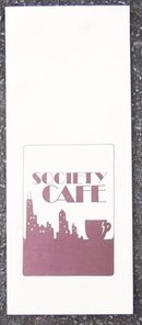 Vintage Menu from Society Cafe, Chicago, Illinois 1981