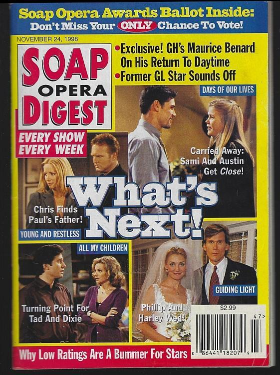Soap Opera Digest November 24, 1998 What's Next/Another World/Alex Donnelley