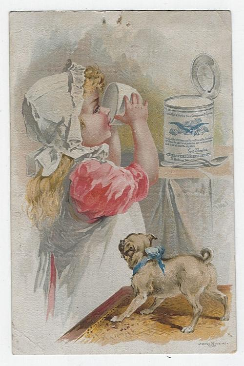 Victorian Trade Card for Gail Borden Eagle Brand Condensed Milk with Cute Girl