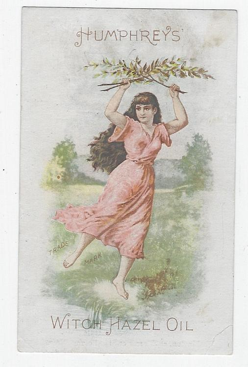 Victorian Trade Card for Humphreys' Witch Hazel Oil with Lovely Dancing Lady