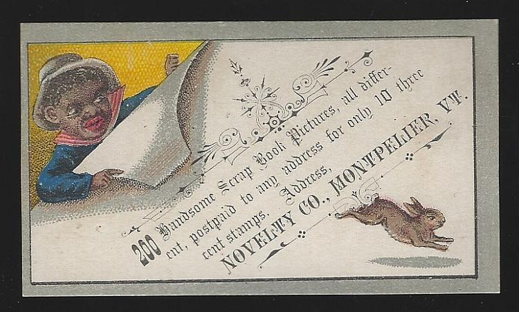 Victorian Trade Card for Novelty Co. , with African American Boy and Rabbit