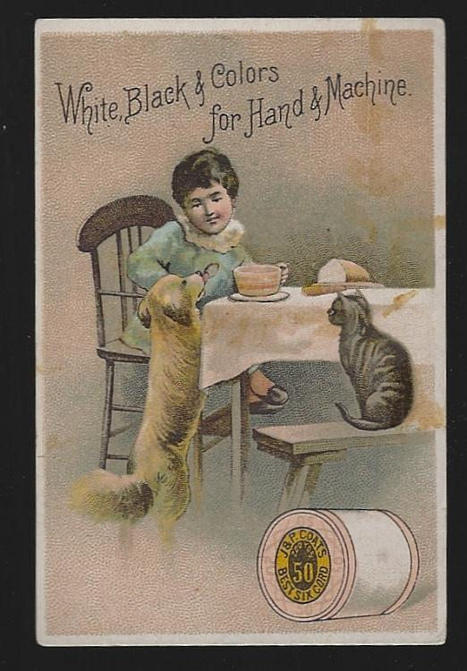 Victorian Trade Card for J.P. Coats' Thread with Little Girl Eating with Her Cat