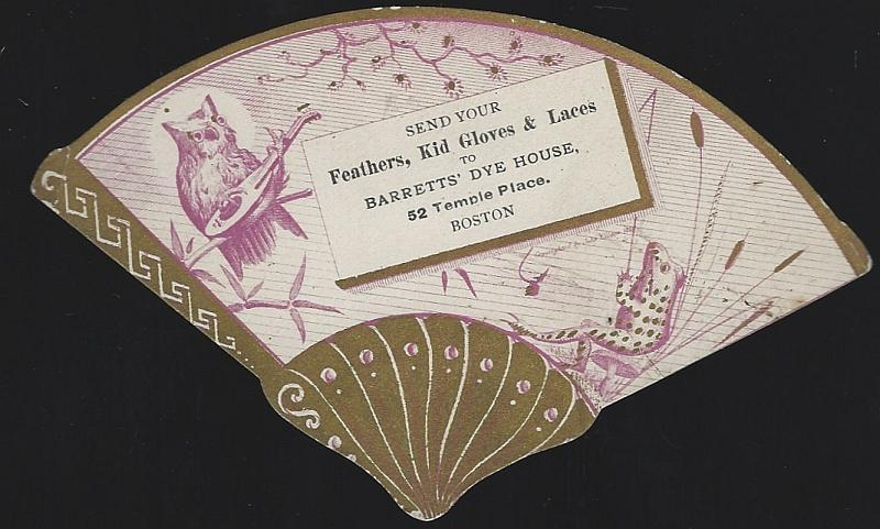 Victorian Die Cut Fan Trade Card For Barretts' Dye House, Boston with Owl Frog