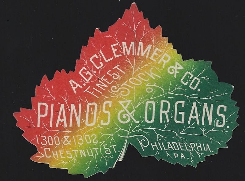 Victorian Die Cut Leaf Trade Card For A. G. Clemmer Pianos Organs Philadelphia