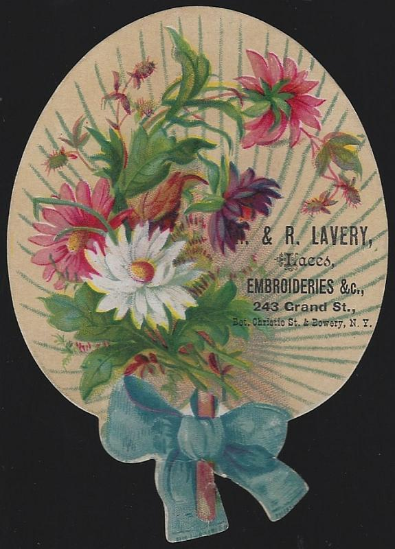 Victorian Die Cut Fan Trade Card For R. And R. Lavery Laces, New York