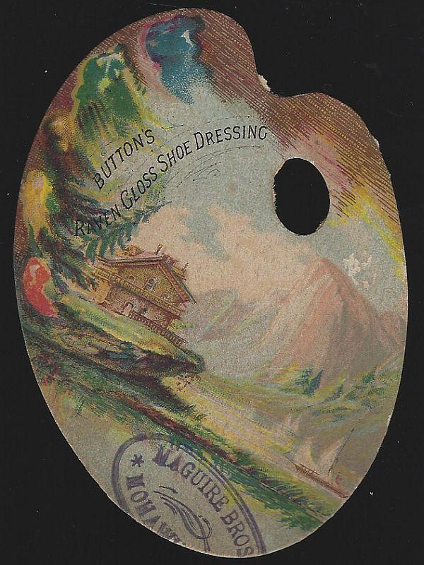 Victorian Die Cut Fan Trade Card For Button's Raven Gloss Shoe Dressing
