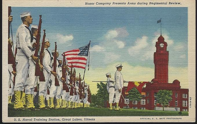 Postcard of Honor Company Presents Arms U.S. Naval Training Great Lakes Illinois