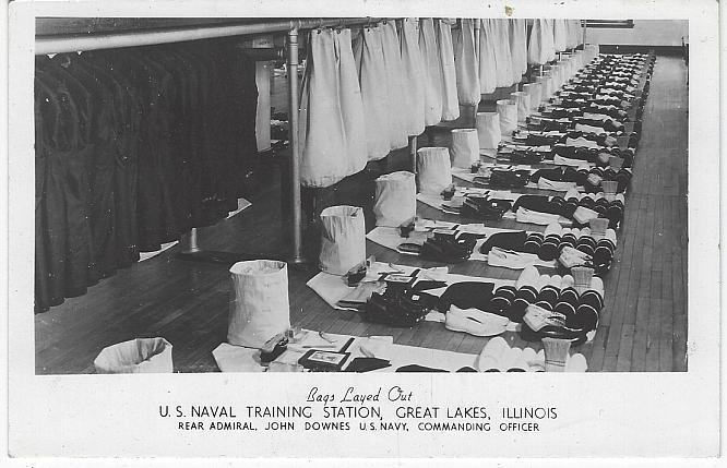 Real Photo Postcard Bags Layed out, U.S. Naval Training, Great Lakes, Illinois
