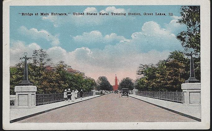 Postcard of Bridge at Main Entrance, U.S. Naval Training, Great Lakes, Illinois