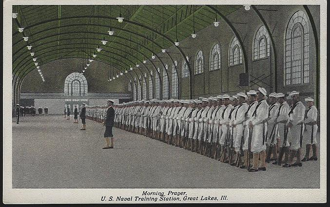 Unused Postcard of Morning Prayer, U.S. Naval Training, Great Lakes, Illinois