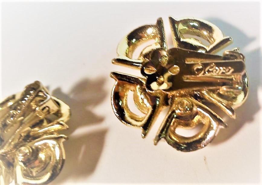 Coro Pegasus Green AB Rhinestone Bracelet and Clip Earrings