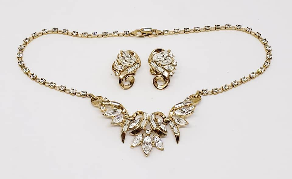 Trifari Alfred Felippe Rhinestone Necklace & Clip Earrings