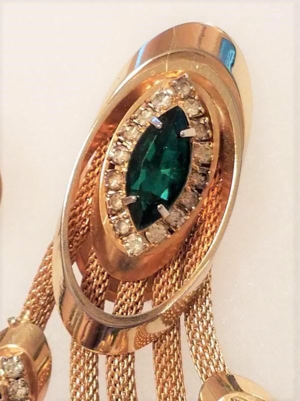 Emerald Green Rhinestone Brooch & Clip earrings