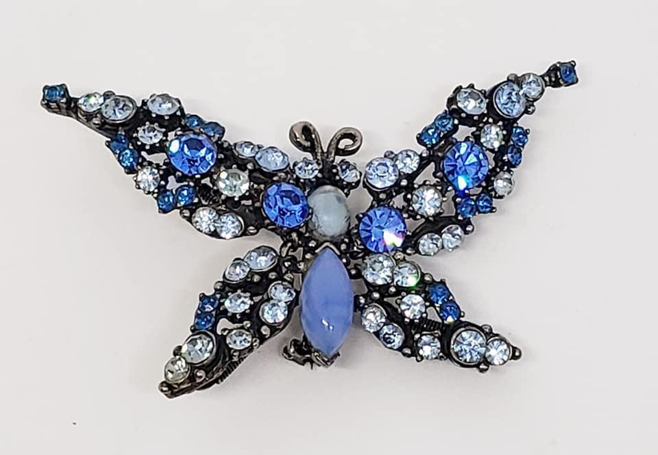 Florenza Sparkly Blue Rhinestone Butterfly Trembler Brooch