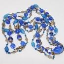 Alice Caviness Blue Lucite & Glass Bead 3-Strand Necklace