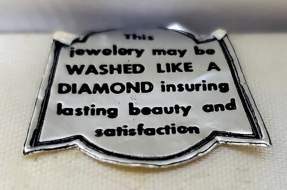 Art Deco Open Back Crystal Necklace, SB Earrings & Harves Fifth Avenue Silk Brocade Presentation Box
