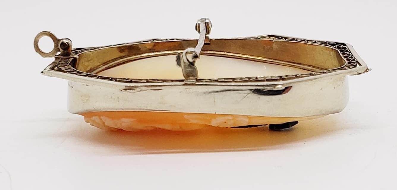 Large 14K WG Carved Carnelian Habille (Diamond Necklace) Cameo Brooch/Pendant