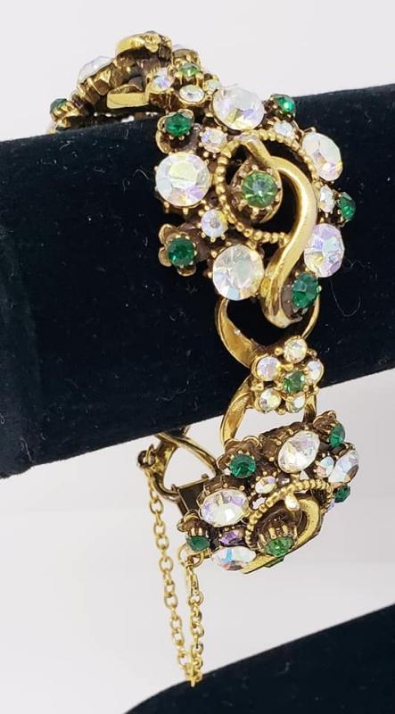 Vintage Florenza 4 Link Green & AB Rhinestone Bracelet