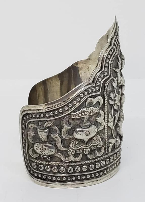 Antique 1940's Chinese Deity Large Sterling Silver Repousse Cuff Bracelet