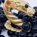 Les Bernard Horse Head Onyx Bead Necklace