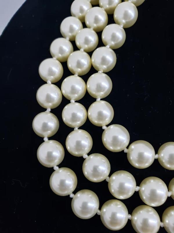 KJL Kenneth J. Lane 3-Strand Faux Pearl Necklace