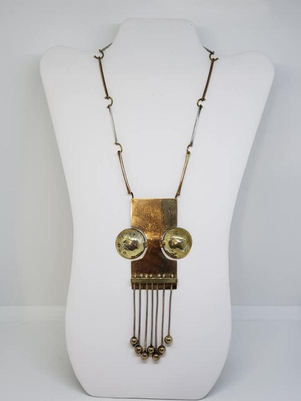 Corki Weeks 1974 Modernistic Brass & Sterling Necklace