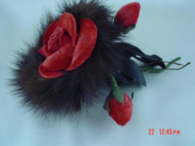 Vintage 50's Red Suede Rose Corsage Trimmed in Mink