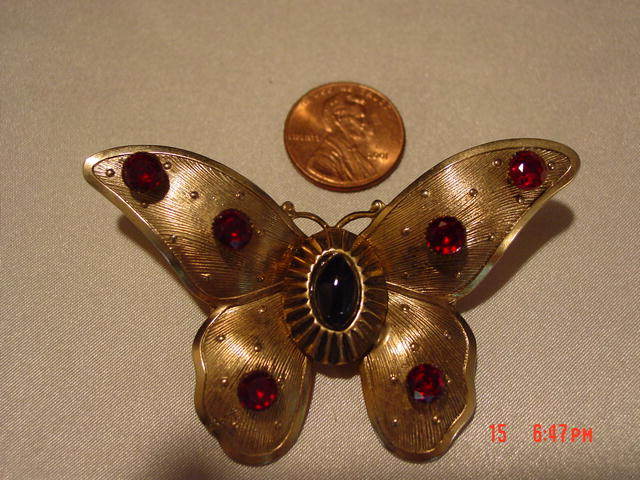 Gold Butterfly Brooch Pin With Red Ruby and Black Rhinestones