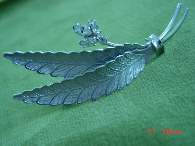 Sterling Silver Double Leaf Brooch Pin With Rhinestones by C.R. Co.