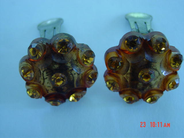 Root Beer Lucite Clip Earrings With Amber Rhinestones