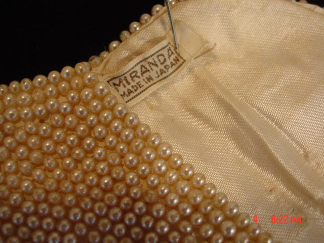Vintage Miranda Japan Faux Pearl Evening Clutch Purse